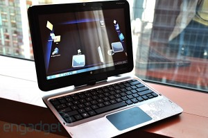 The HP TouchSmart tm2 Convertible Tablet swivels and spruces