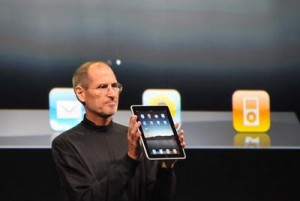 Apple CEO Steve Jobs showed the new iPad to the press audience